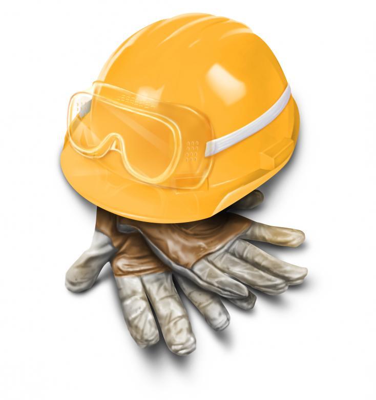Helm en werkhandschoenen